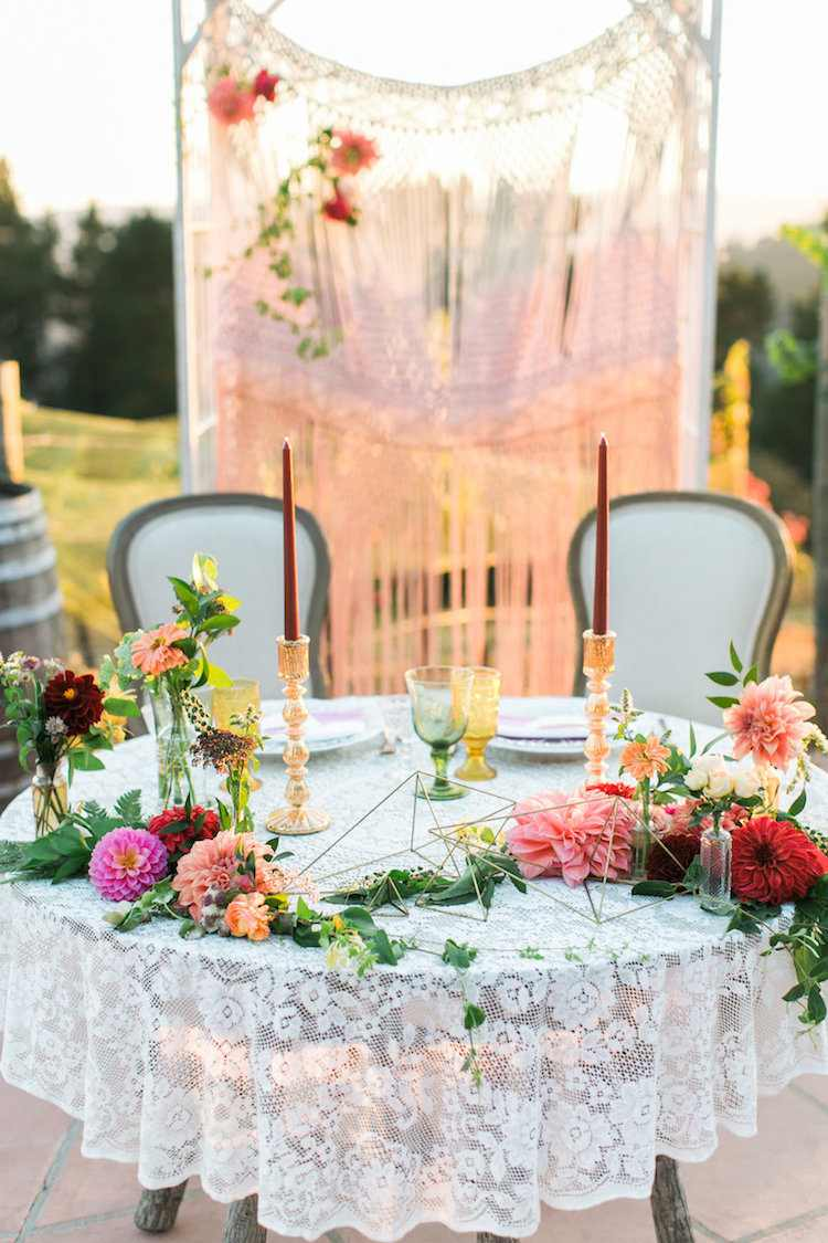 decoration table mariage boheme