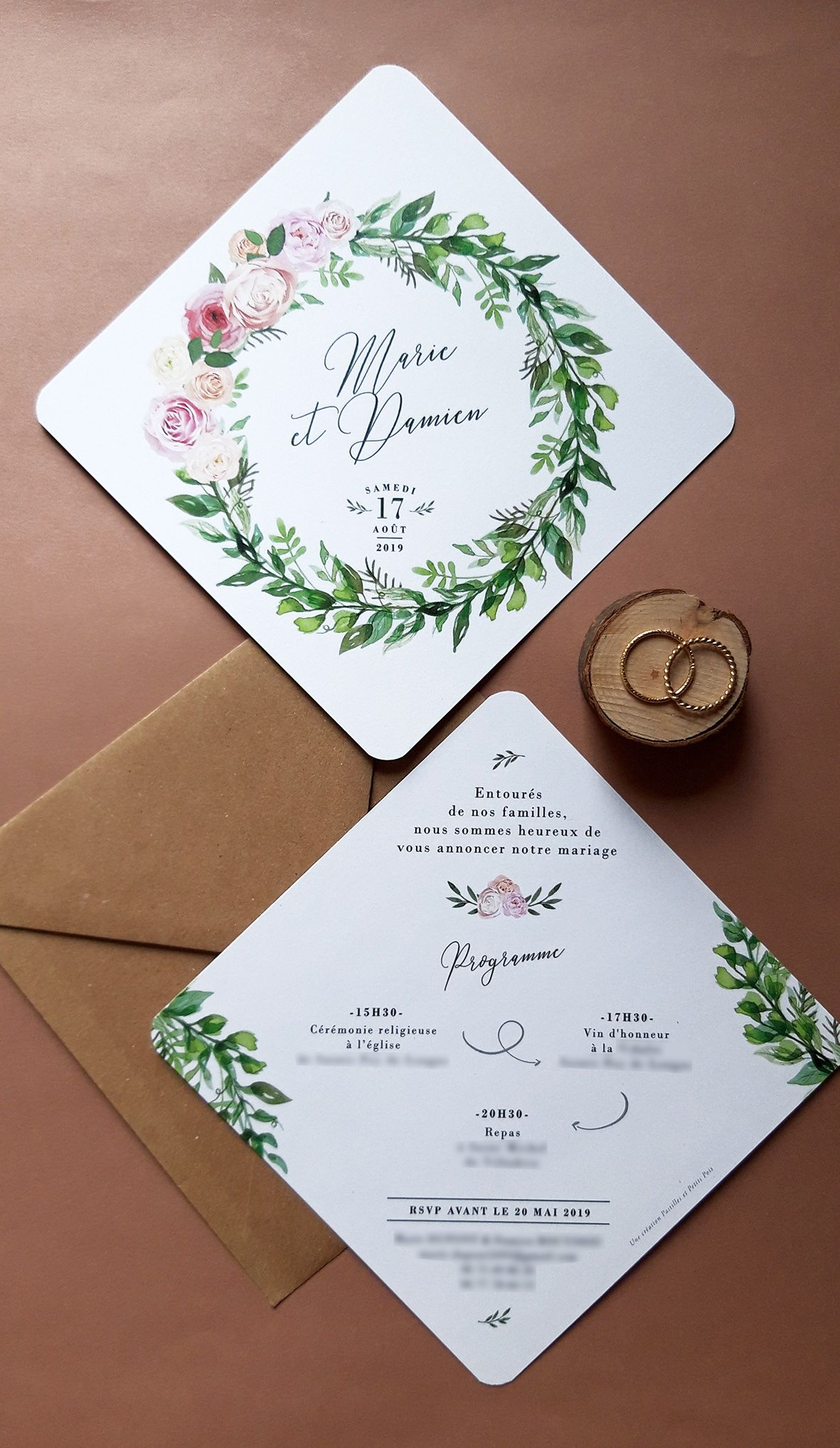 Faire-part de mariage Tropical par en 2019 | Faire part ...