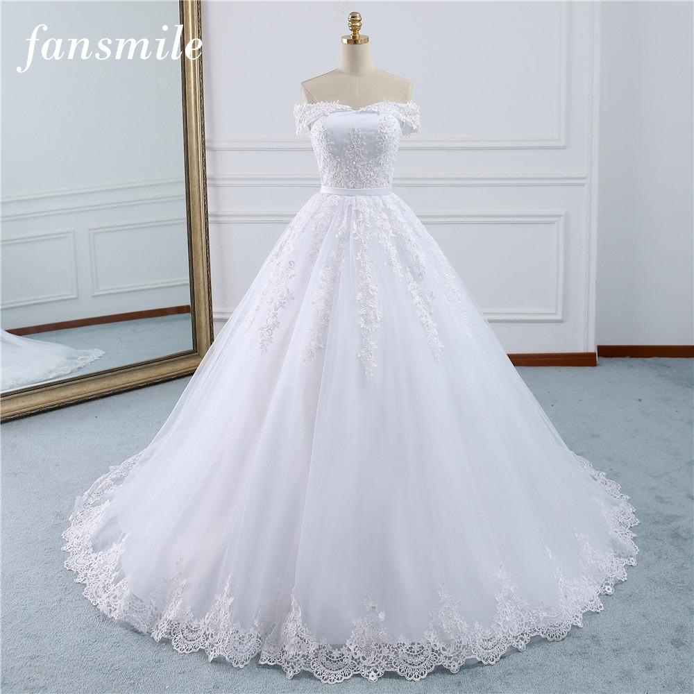 Fansmile 2018 Lace Gowns Wedding Dress Robe Princesse Mariage Plus Size Long Train Tulle Mariage Bridal Wedding Turkey FSM-433T